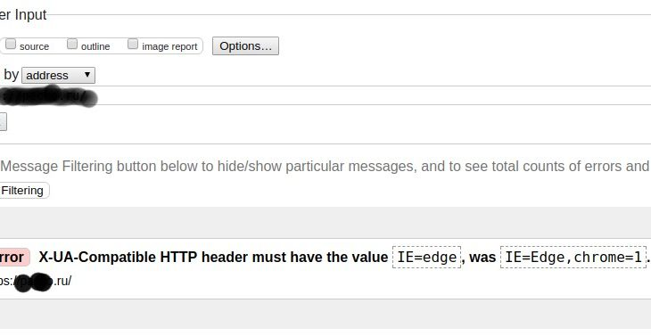 Error: X-UA-Compatible HTTP header must have the value IE=edge, was IE=Edge,chrome=1